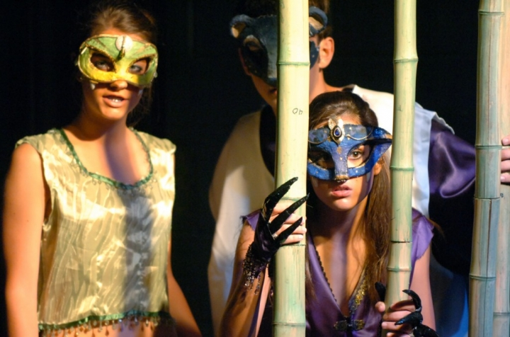 Kaa (from left), played by Jessy Palmer, Baloo, played by Logan Little, and Baghara, played by Noel Anderson, spy on the monkey clan that has kidnapped Mowgli Thursday afternoon during the dress rehearsal of