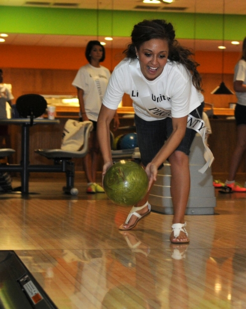 """Tiffany Moak, Miss Pike County, bowls Wednesday night during the Miss Hospitality """"Bowl Night"""" at Champion Lanes in Hattiesburg. (Erin Parker / The Hattiesburg American)"""