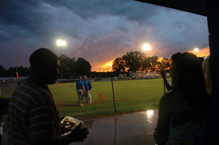 North Forrest wait beneath the concession stand before the North Forrest-Sumrall game Friday night at North Forrest High School. (Photo by Erin Parker / The Hattiesburg American)